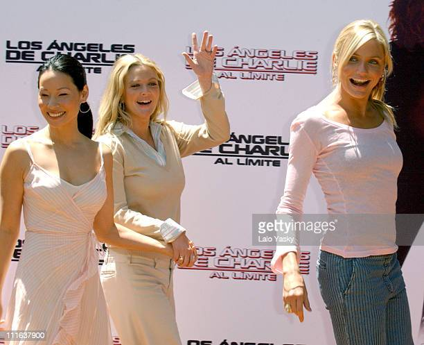 Lucy Liu Drew Barrymore and Cameron Diaz during 'Charlies Angels Full Throttle' Photo Call Madrid at VIlla Magna Hotel in Madrid Spain
