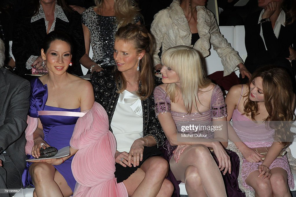 Lucy Liu, Eva Herzigova, Nadia Auermann and Devon Aoki attend the Valentino Fashion show, during Paris Fashion Week (Haute Couture) Spring-Summer 2008 on January 23, 2008 at Musee Rodin in Paris, France.