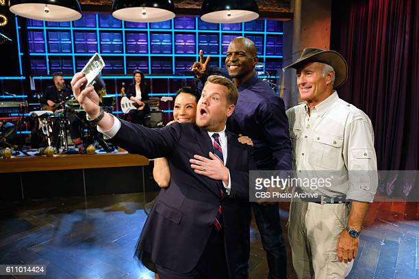 """Lucy Liu, Jack Hanna, and Terry Crews chat with James Corden during """"The Late Late Show with James Corden,"""" Thursday, Sept. 22nd On The CBS..."""