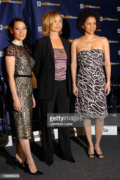 Lucy Liu Jessica Lange Gloria Reuben during 2004 Reebok Human Rights Award at Charles Dana Lounge at Avery Fisher Hall Lincoln Center in New York...