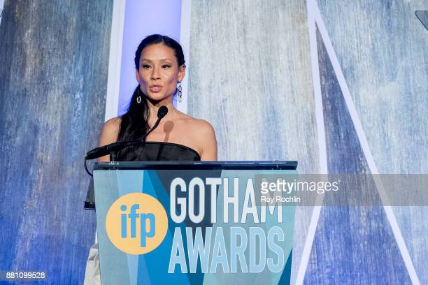 Lucy Liu speaks onstage during IFP's 27th Annual Gotham Independent Film Awards at Cipriani Wall Street on November 27 2017 in New York City