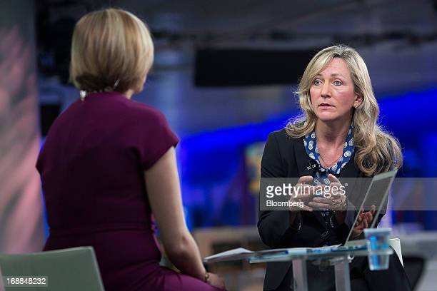 Lucy MacDonald chief investment officer for equities at Allianz Global Investors right speaks during a Bloomberg Television interview in London UK on...