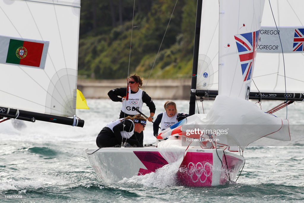 Lucy Macgregor, Annie Lush and Kate Macgregor of Great Britain compete in the Women's Elliott 6m WMR Sailing on Day 3 of the London 2012 Olympic Games at Weymouth Harbour on July 30, 2012 in Weymouth, England.