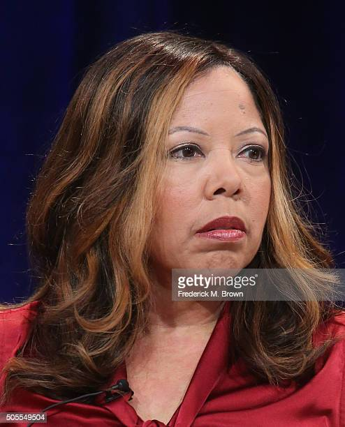 Lucy McBath film subject speaks onstage during INDEPENDENT LENS' 'The Armor of Light' panel as part of the PBS portion of the 2016 Television Critics...