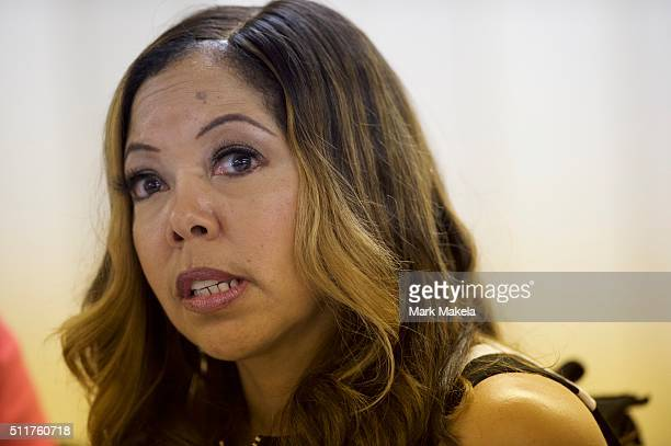 Lucy McBath mother of Jordan Davis who was killed by a man who claimed selfdefense but was later found guilty of murder speaks during a Hillary...