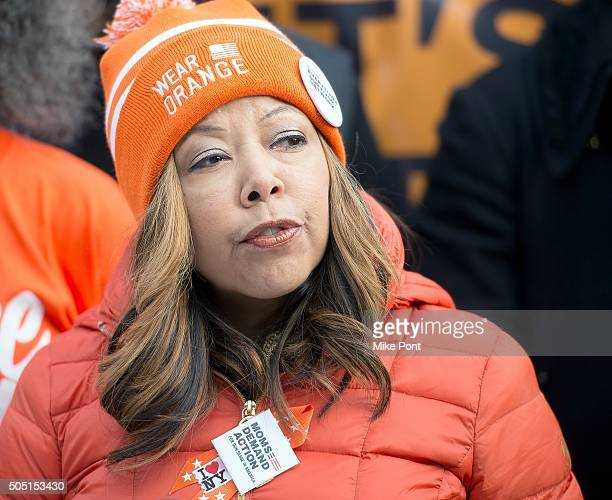Lucy McBath speaks during the 6th Annual New York Peace Week Press Conference at City Hall on January 15 2016 in New York City