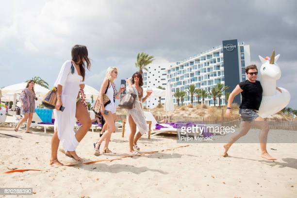 Lucy Mecklenburgh and Ashley Louise James are seen at Hard Rock Hotel Ibiza at the presentation of the Global Gift Beach Party on July 21 2017 in...
