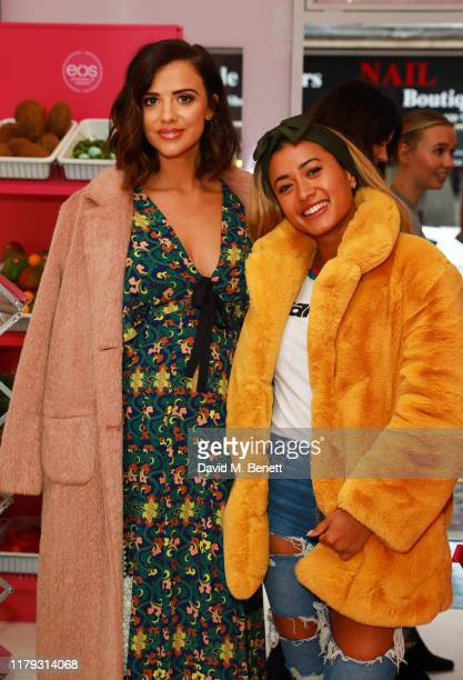 Lucy Mecklenburgh and Kaz Crossley attends the launch preview of eos lip balm popup the KeosK on November 1 2019 in London England The shop is open...