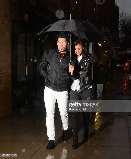 Lucy Mecklenburgh and Louis Smith arrived at a Broadway Play 'Wicked' on December 17 2015 in New York City