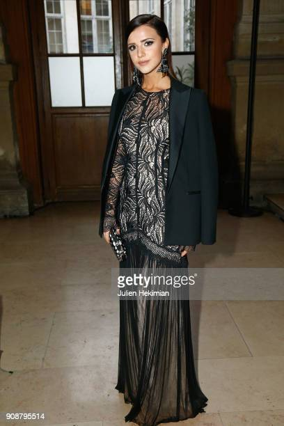 Lucy Mecklenburgh attends the Georges Hobeika Haute Couture Spring Summer 2018 show as part of Paris Fashion Week on January 22 2018 in Paris France
