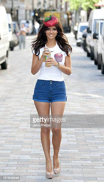 Lucy Mecklenburgh Helps Launch Volvic Juiced Summer In A Box Bar At Covent Garden In London.