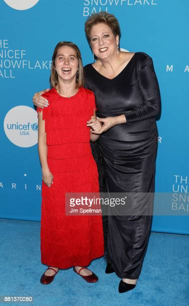 Lucy Meyer and president and CEO of UNICEF USA Caryl M Stern attend the 13th Annual UNICEF Snowflake Ball 2017 at The Atrium at 60 Wall Street on...