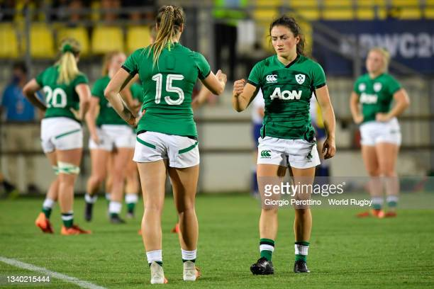 Lucy Mulhall and Eimear Considine of Ireland react during the Rugby World Cup 2021 Europe Qualifying match between Spain and Ireland at Stadio Sergio...