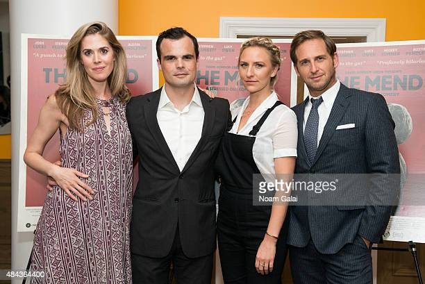 Lucy Owen Stephen Plunkett Mickey Sumner and Josh Lucas attend 'The Mend' New York premiere at Crosby Street Hotel on August 17 2015 in New York City
