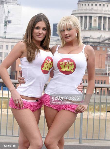 Lucy Pinder and Michelle Marsh during Loaded Magazine 10th Anniversary Celebration at South Bank in London, Great Britain.