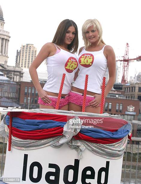Lucy Pinder and Michelle Marsh during Loaded Magazine 10th Anniversary Celebration at South Bank in London Great Britain