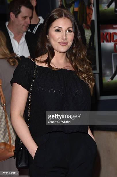 Lucy Pinder attends a Photocall for the gala screening of Kicking Off on April 21 2016 in London United Kingdom