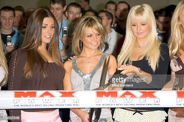 Lucy Pinder, Jakki Degg and Michelle Marsh during Max Power Live 2004 at Excel Center in London, Great Britain.