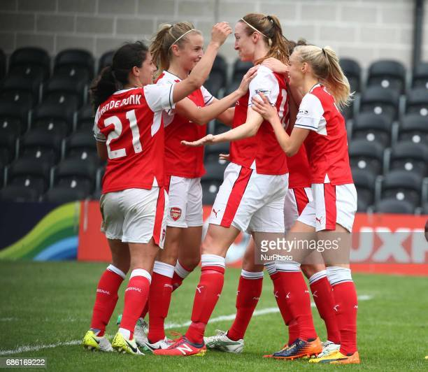 Lucy Quinn of Arsenal Ladies celebrates her 2nd goal during Women's Super League 1 Spring Series match between Arsenal Ladies against Birmingham City...