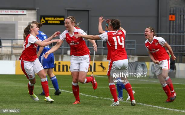 Lucy Quinn of Arsenal Ladies celebrates her goal during Women's Super League 1 Spring Series match between Arsenal Ladies against Birmingham City...
