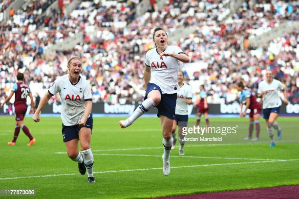 Lucy Quinn of Tottenham celebrates scoring her sides second goal during the Barclays FA Women's Super League match between West Ham United and...