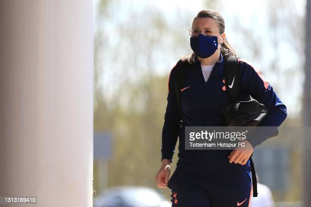 Lucy Quinn of Tottenham Hotspur arrives during the Vitality Women's FA Cup Fourth Round match between Reading Women and Tottenham Hotspur Women at...