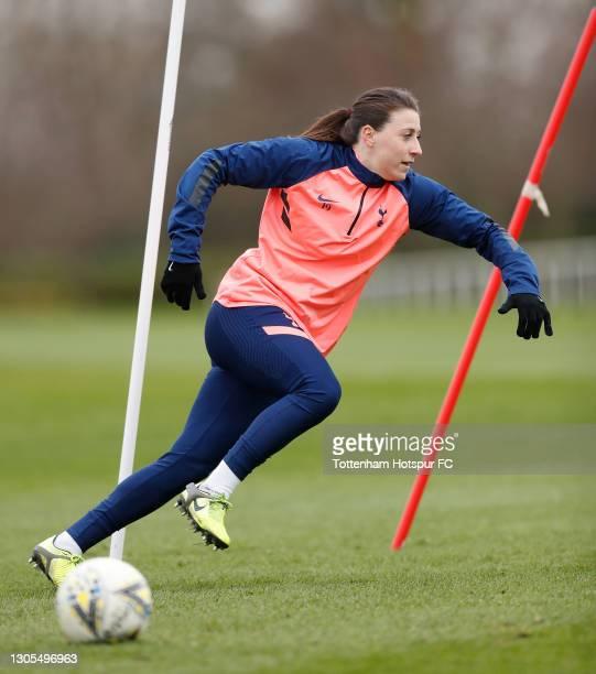 Lucy Quinn of Tottenham Hotspur Women during the Tottenham Hotspur Women training session at Tottenham Hotspur Training Centre on March 05, 2021 in...