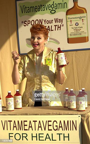 """Lucy Ricardo impersonator Lisa Davis recreates Lucille Ball''s """"Vitameatavegamin"""" skit at an exhibition celebrating the 50th anniversary of the """"I..."""