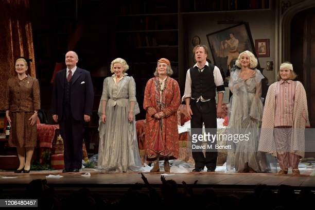Lucy Robinson Simon Coates Lisa Dillon Jennifer Saunders Geoffrey Streatfeild Emma Naomi and Rose Wardlaw bow at the curtain call during the press...