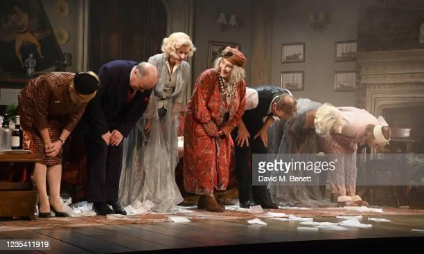 Lucy Robinson, Simon Coates, Lisa Dillon, Jennifer Saunders, Geoffrey Streatfeild, Madeleine Mantock and Rose Wardlaw take the curtain call at the...