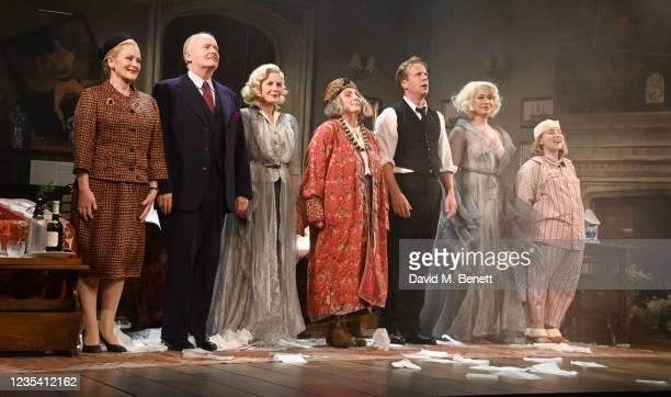 Lucy Robinson, Simon Coates, Lisa Dillon, Jennifer Saunders, Geoffrey Streatfeild, Madeleine Mantock and Rose Wardlaw take the bow at the curtain...