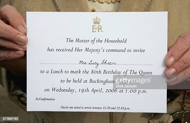 Lucy Sheen holds up her invitation to the Queen's 80th Birthday Lunch on April 19, 2006 at Buckingham Palace in London, England. TRH Queen Elizabeth...