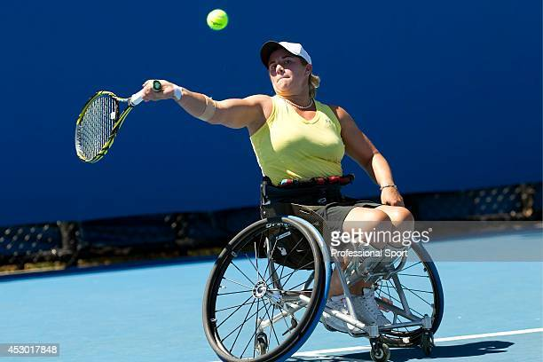 Lucy Shuker of Great Britain during a practice session at the 2013 Australian Open Wheelchair Championships at Melbourne Park on January 22, 2013 in...