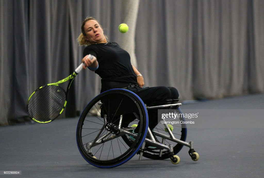 Lucy Shuker of Great Britain in action during the 2018 Bolton Indoor Wheelchair Tennis Tournament at Bolton Arena on February 21, 2018 in Bolton, England.