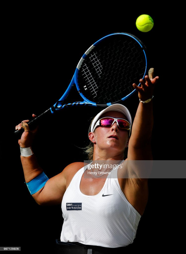 Lucy Shuker of Great Britain in action during the women's wheelchair quarter final against Aniek Van Koot of the Netherlands at the All England Lawn Tennis and Croquet Club on July 12, 2018 in London, England.