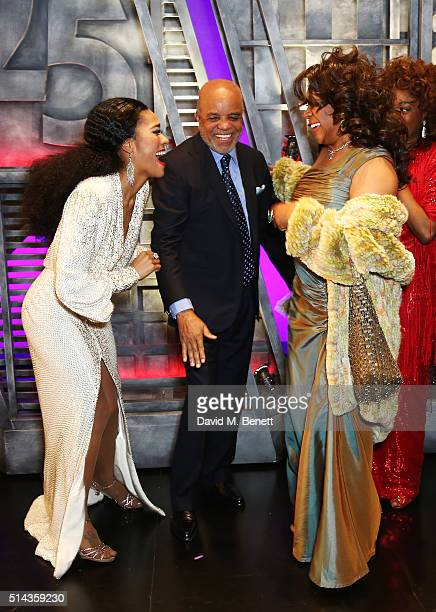Lucy St Louis Berry Gordy founder of the Motown record label and Mary Wilson pose backstage following the press night performance of 'Motown The...
