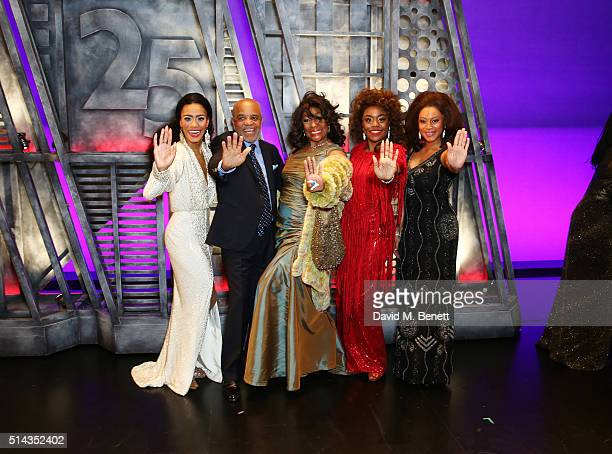 Lucy St Louis, Berry Gordy, founder of the Motown record label, Mary Wilson, Cherelle Williams and Portia Harry pose backstage following the press...