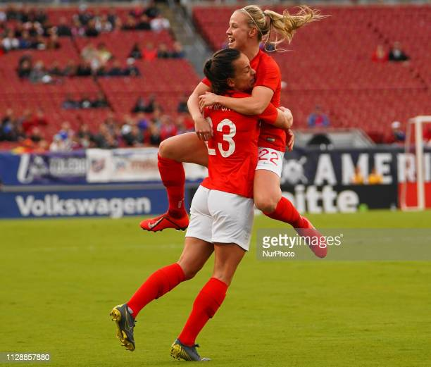 Lucy Stanforth and Beht Mead of England celebration after her goal during the SheBelieves Cup match between Japan and England at Raymond James...