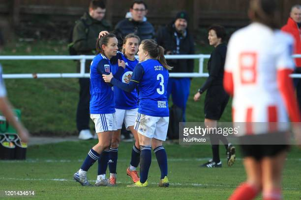 Lucy Staniforth of Birmingham City celebrates after scoring their only goal from a free kick during the SSE Women's FA Cup Fifth Round match between...