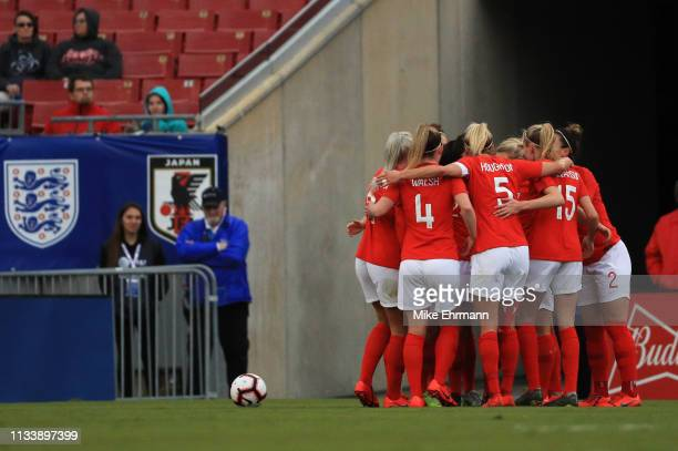 Lucy Staniforth of England celebrates with team mates after scoring her team's first goal during the 2019 SheBelieves Cup match between England and...