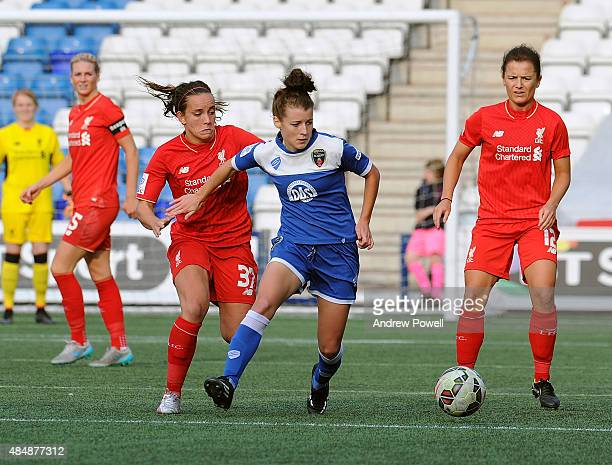 Lucy Staniforth of Liverpool Ladies competes with Angharad James of Bristol Academy Women during the Womens Super League match between Liverpool...