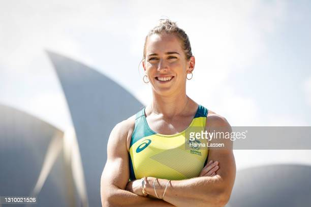 Lucy Stephan poses during the Australian Olympic Team Tokyo 2020 uniform unveiling at the Overseas Passenger Terminal on March 31, 2021 in Sydney,...