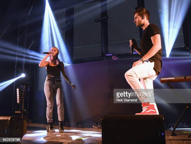 Lucy Voll and David Fanning perform at Country Thunder Music Festival Arizona Day 1 on April 5 2018 in Florence Arizona