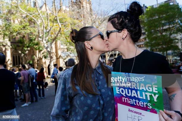 Lucy Wade and Kelly Delvin share a kiss on August 6 2017 in Sydney Australia The couple of three years hope to win the right to marry in their home...