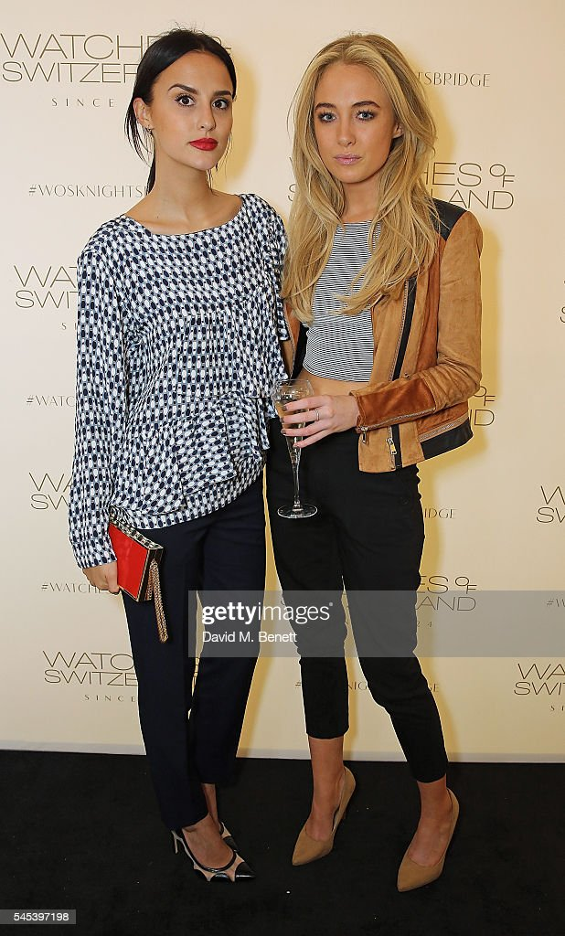 Lucy Watson and Nicola Hughes attend Watches Of Switzerland Knightsbridge Launch on July 7, 2016 in London, England.