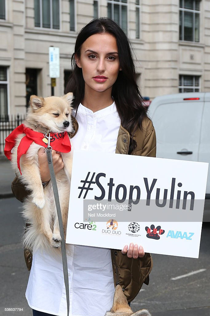 Lucy Watson attends the Humane Society Petition photocall at The Chinese Embassy on June 7, 2016 in London, England.