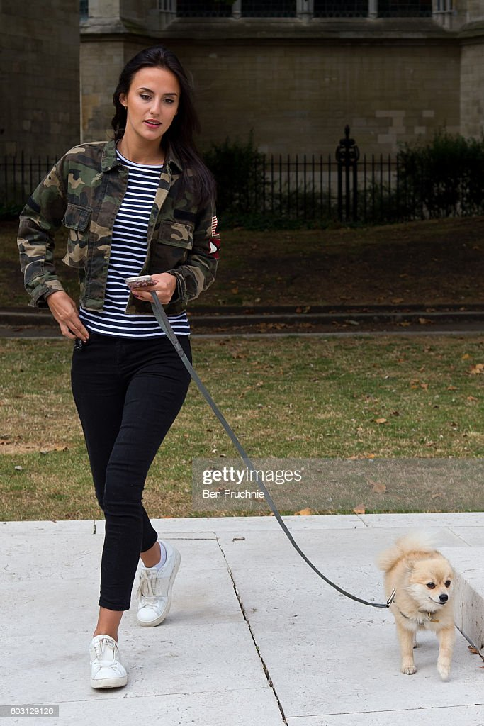 Lucy Watson from 'Made In Chelsea' protests against South Korea's cruel factory farming of dogs on September 12, 2016 in London, United Kingdom.