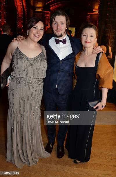 Lucy Wheatley Alfie Oldman and Lesley Manville attend The Olivier Awards with Mastercard after party at the Natural History Museum on April 8 2018 in...