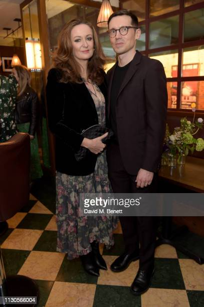 Lucy Yeomans and designer Erdem Moralioglu attend the official Erdem London Fashion Week dinner at J Sheekey Atlantic Bar on February 18 2019 in...