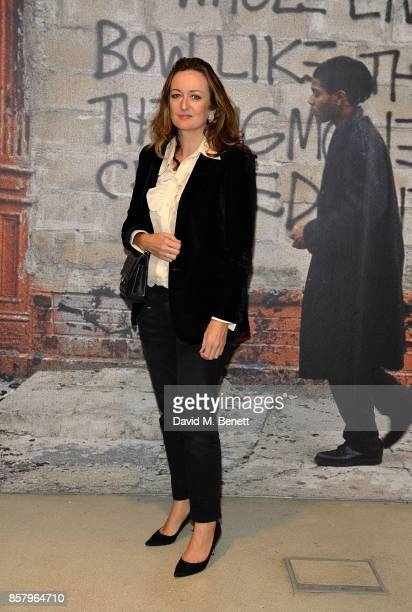 Lucy Yeomans attends a private view of the Basquiat exhibition cohosted by NETAPORTER in partnership with Frieze at Barbican Centre on October 5 2017...